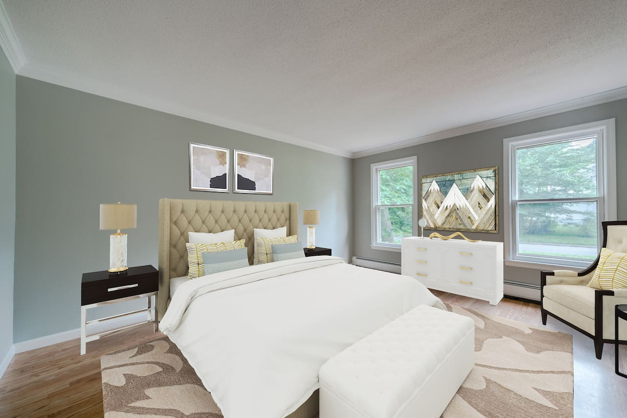 picture of virtually staged bedroom by PadStyler