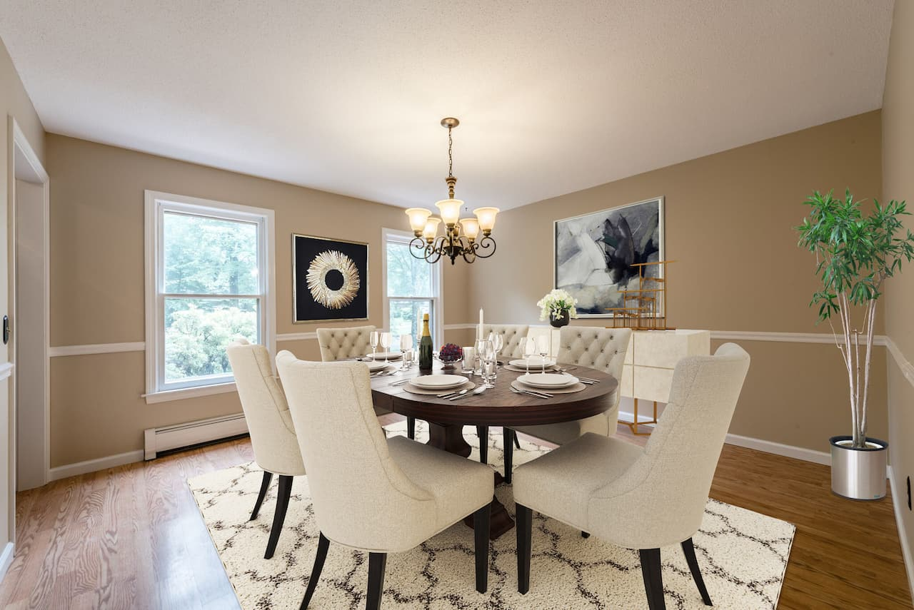 picture of virtually staged dining room by PadStyler