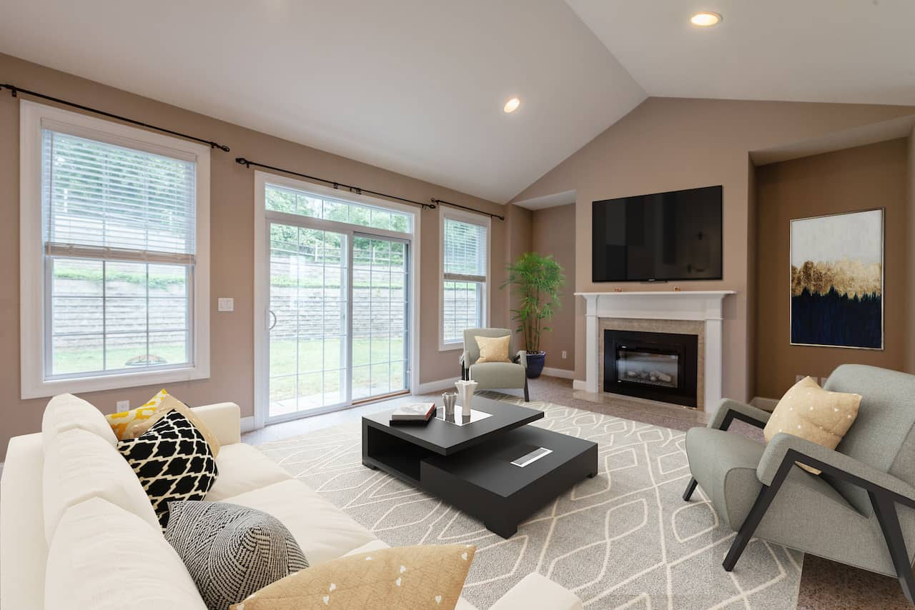 picture of virtually staged living room by PadStyler