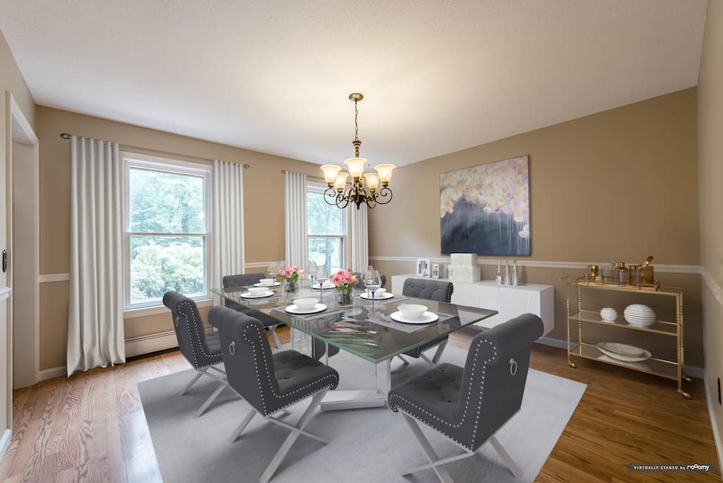 picture of rooomy dining room virtually staged