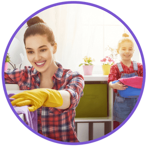 picture of mom and daughter doing a spring cleaning on a home