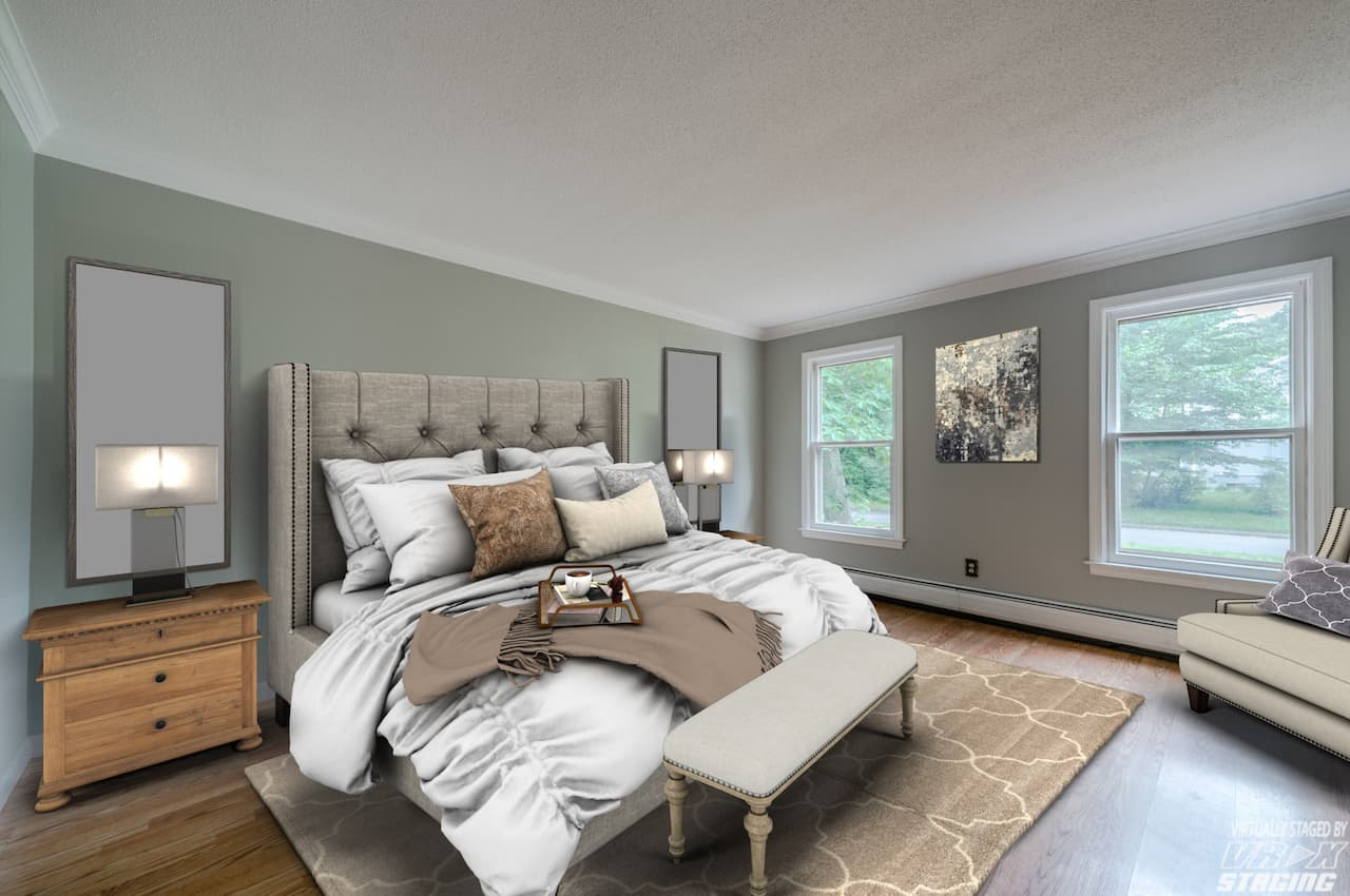 picture of virtually staged bedroom by VRX Staging