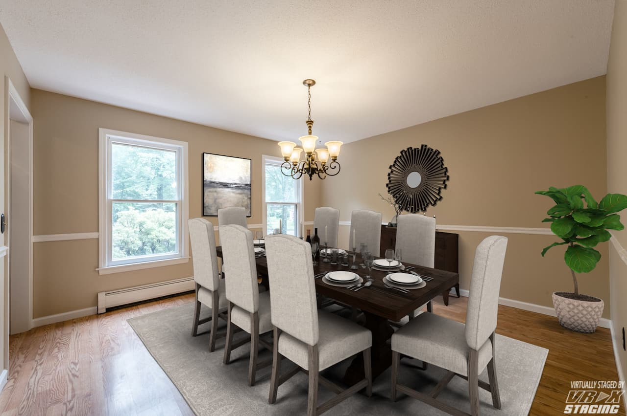 picture of virtually staged dining room by VRX Staging