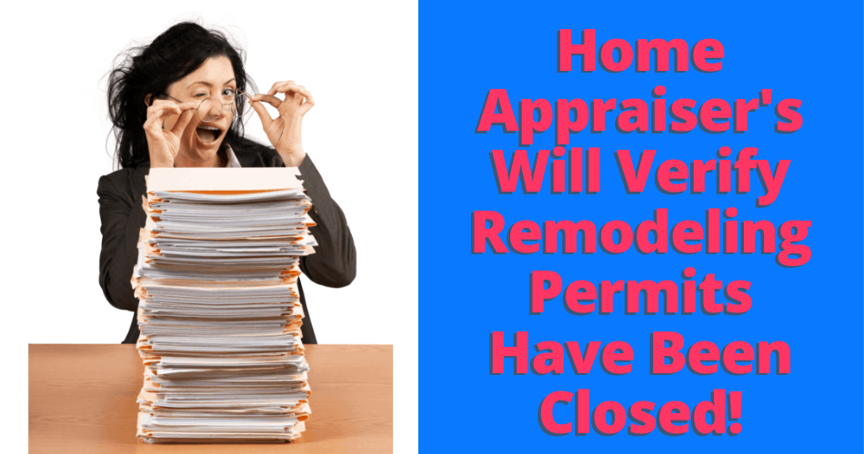 picture of a real estate appraiser verifying home remodeling permits