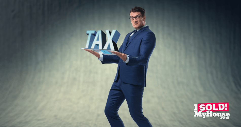 picture of a frustrated man paying real estate taxes