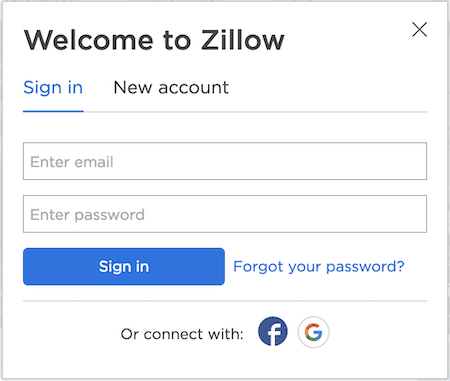picture of zillow login screen