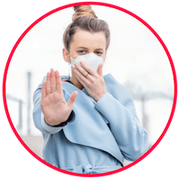 picture of a woman wearing a mask to stop pollutants