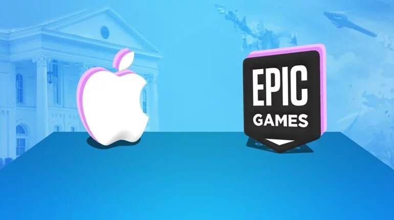 The logos of Apple and Epic Games