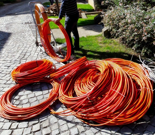 reams of fibre optic cables on the surface uk
