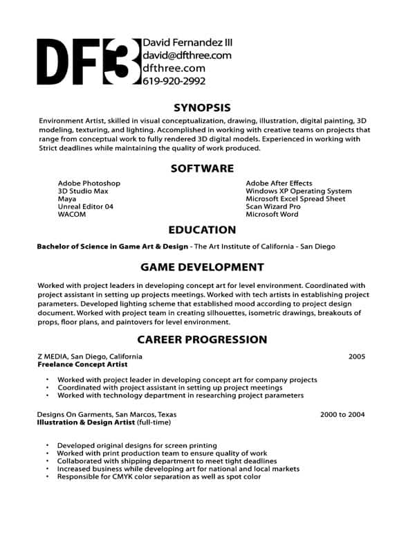 Game Design Cover Letter