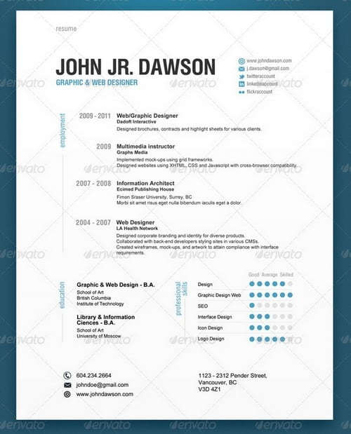 resume template contemporary free