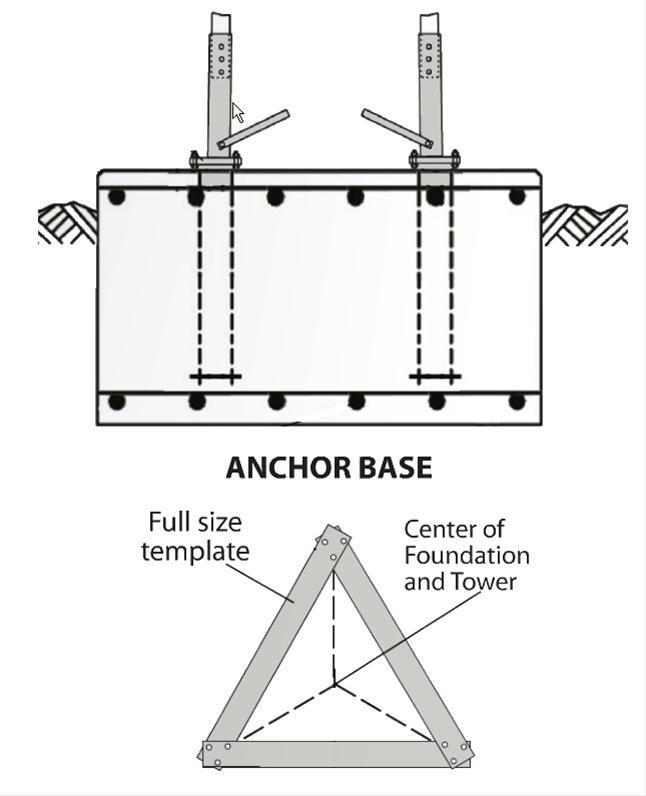 Rohn RSL Series Anchor Bolt Base Section, 10ft
