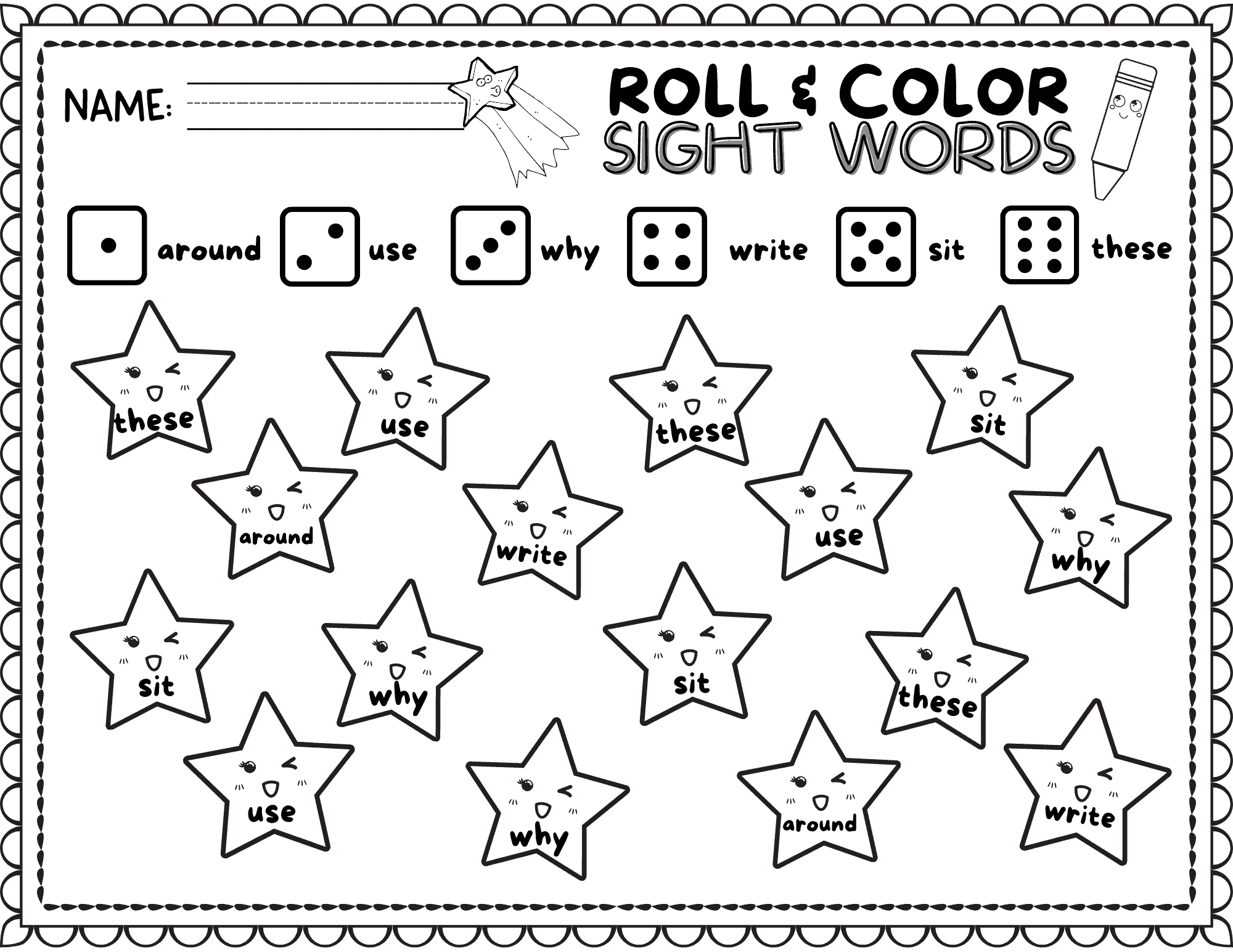 10 Roll Amp Color Sight Word Worksheets For Sight Word Fun