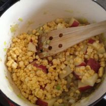 Step 6: Add the corn & potato