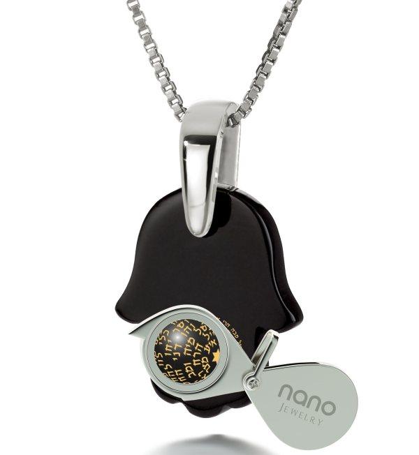 Ana Bekoach 14k White Gold & Hamsa Onyx Necklace Nano