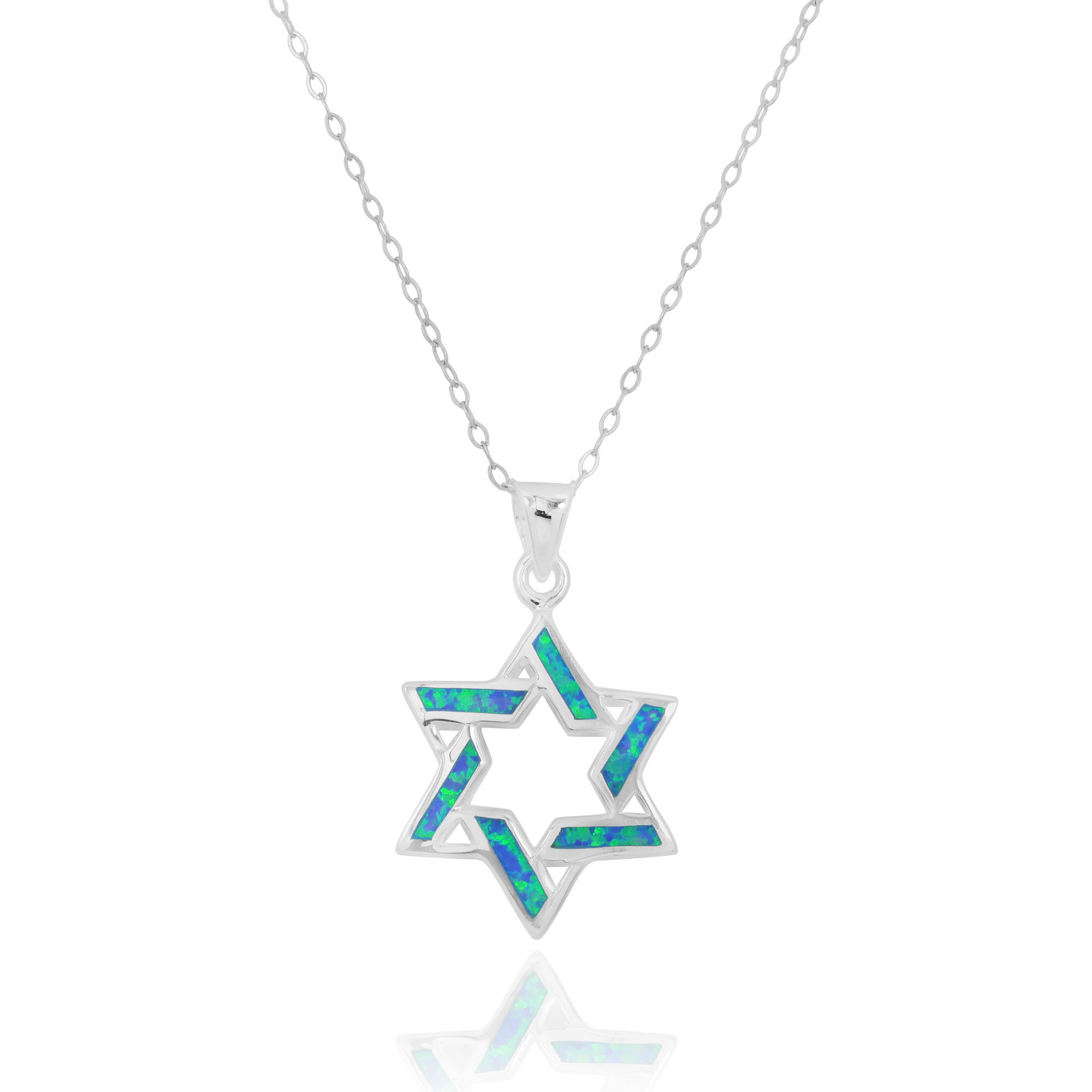 Buy Silver Modern Star Of David Pendant With Opal