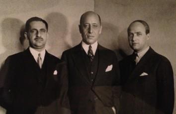 Von links, Zacharias Max Hackenbroch, Julius Falk Goldschmidt und Samy Rosenberg, drei der jüdischen Sammler, die den Welfenschatz, im Jahr 1929 gekauft haben.