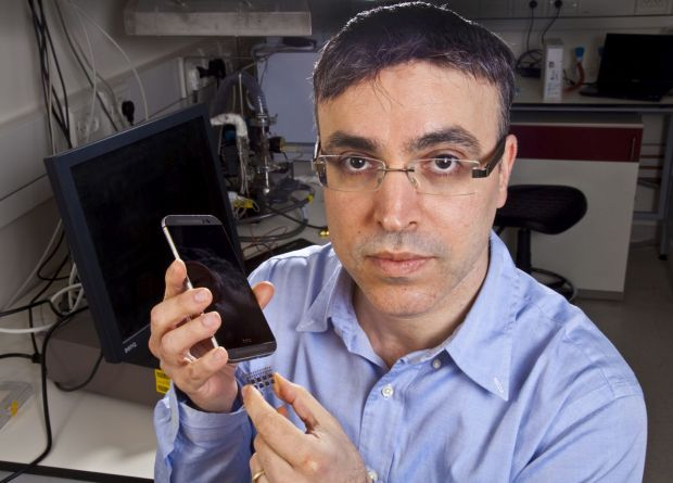 Prof. Hossam Haick with the SniffPhone system. Photo credit: Technion Spokesperson's Office