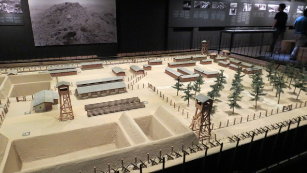 Beit Lohamei Hagetaot, Israel, a model of the Treblinka camp, made by Yankel Wiernik.