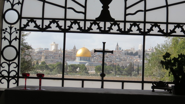 Dominus Flevit western window above altar aiming at Church of the Holy Sepulchre. No it is NOT aimed at the Dome of the Rock.