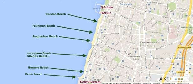 Tel Aviv Beach Map - Center