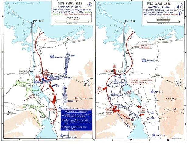 1973 Yom Kippur War in Sinai Maps, October 15–24