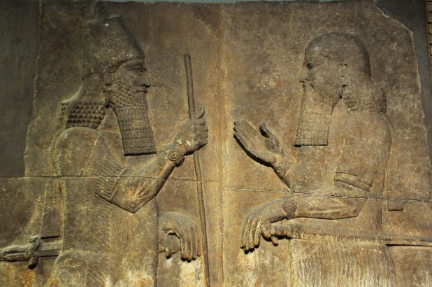 Sargon II (left) faces a high-ranking official, possibly Sennacherib his son and crown prince. 710-705 BCE. From Khorsabad, Iraq. The British Museum, London - Author:Osama Shukir Muhammed Amin FRCP(Glasg)