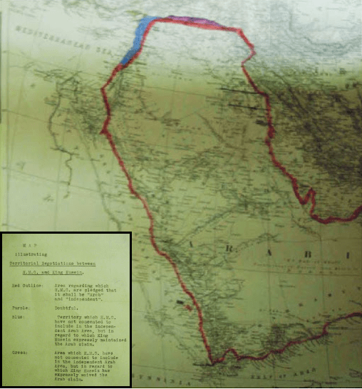 "1918 British Government map entitled ""Map illustrating Territorial Negotiations between H.M.G. and King Hussein"""