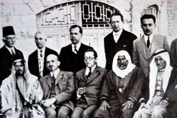 Haim Arlosoroff (seated centre) with Chaim Weizmann (to his left) at a meeting with Arab leaders at the King David Hotel, Jerusalem, 8 April 1933. Also pictured Moshe Shertok (Sharett) and Yitzhak Ben-Zvi (standing in the right). The representatives from Transjordan were Sheikh Mithqal Pasha al-Faiz, Chief of the Bani Sakhr; Rashid Pasha al-Khaza'i, supreme sheikh of Mount Ajlun; Mitri Pasha Zurikat, Christian leader from al-Karak district; Shams-ud-Din Bey Sami, Circassian leader, and Salim Pasha Abu al-Ajam, supreme sheik of the Belka region. According to Davar, June 11, 1958, page 3, the picture was taken the eve of Passover 1931 at discussions on land sale in Transjordan