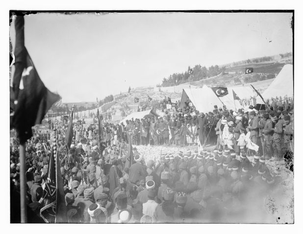 Ottoman flags fly over the Nabi Musa for the last time, in 1917