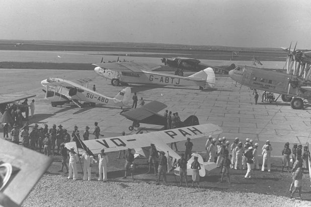 GRADUTION CEREMONY OF THE 1ST JEWISH PILOTS OF THE KATZ (PALESTINE FLYING SERVICE) FLYING SCHOOL AT LOD AIRPORT
