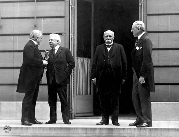 "The heads of the ""Big Four"" nations at the Paris Peace Conference, 27 May 1919. From left to right: David Lloyd George, Vittorio Orlando, Georges Clemenceau, and Woodrow Wilson"