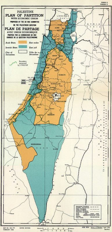 Map of UN Partition Plan for Palestine, adopted 29 Nov 1947 - Public domain