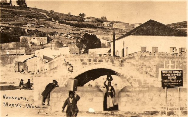 Postcard depicting Mary's well in Nazareth, circa 1925, by Karimeh Abbud .