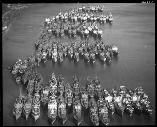 The Hudson River National Defense Fleet, December 14, 1947. New York State Archives.