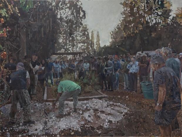 """אלי שמיר קבורה בכפר-יהושע, 2019 שמן על בד, 240x180ס""""מ (סריקה: סטודיו HC Editions) Elie Shamir Burial at Kfar Yehoshua. Oil on canvas, 240x180 cm (scan: StudioHC Editions)"""