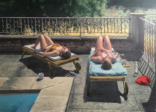 "Sam Rachmin. Tea time by the pool. Oil on linen 100X130 c""m"