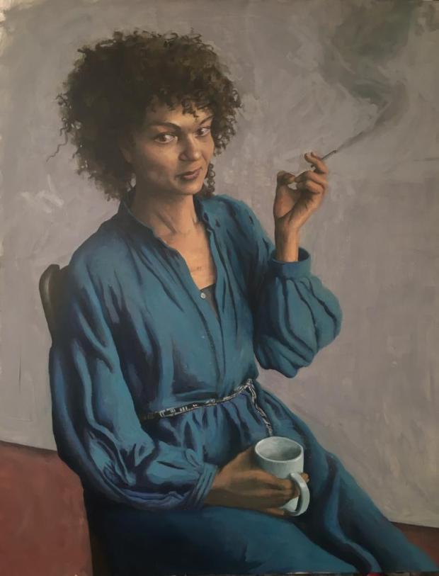 Sandra smoking. Oil on linen 100X80cm