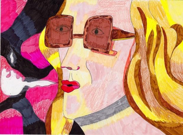 אילה נצר, ליל הבכורה, טושים ועפרונות על נייר, 29.7x21 סמ, 2020