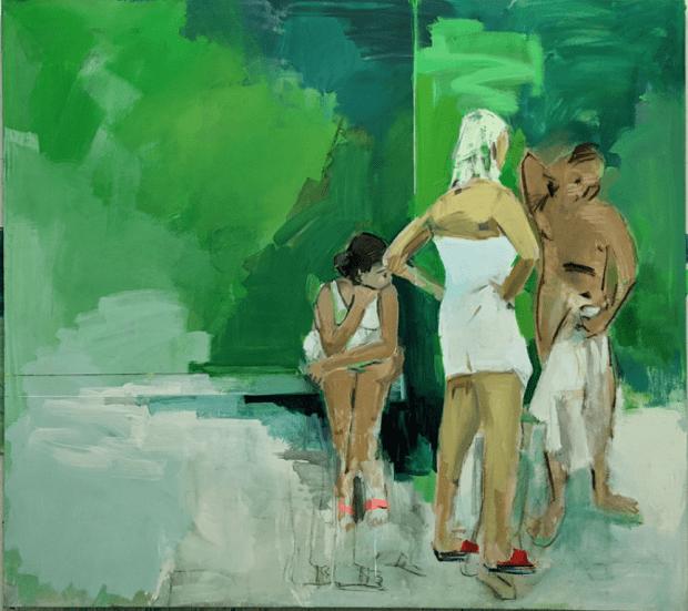 יוני גולד, ללא כותרת, (שתי בנות וגבר), טכניקה מעורבת על בד, 19070, 2021