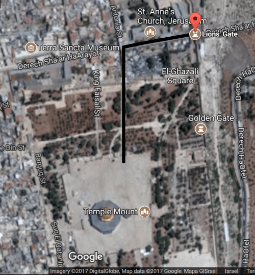 temple mount shooting - map