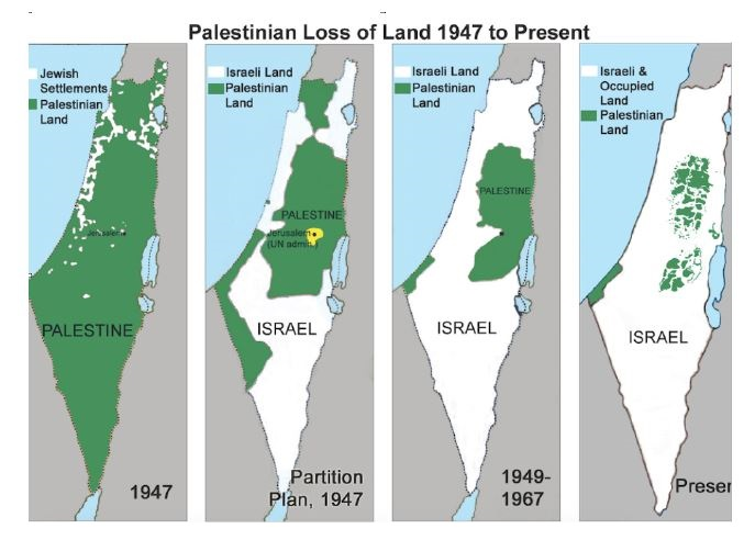 Map supposedly showing how the Jews stole land from the Arabs