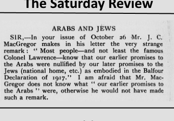 Arabs and Jews in letter to the editor in 1929