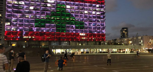 Lebanese flag in lights on Tel Aviv City Hall
