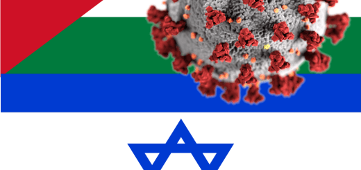 Israeli and PA flags and coronavirus