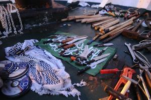 """قوات الأمن الإسرائيلي تعثر على السكاكين والاسلحة واعلام حماس على متن بسفينة مافي مرمرة او ما يسمى ب""""اسطول الحرية"""""""