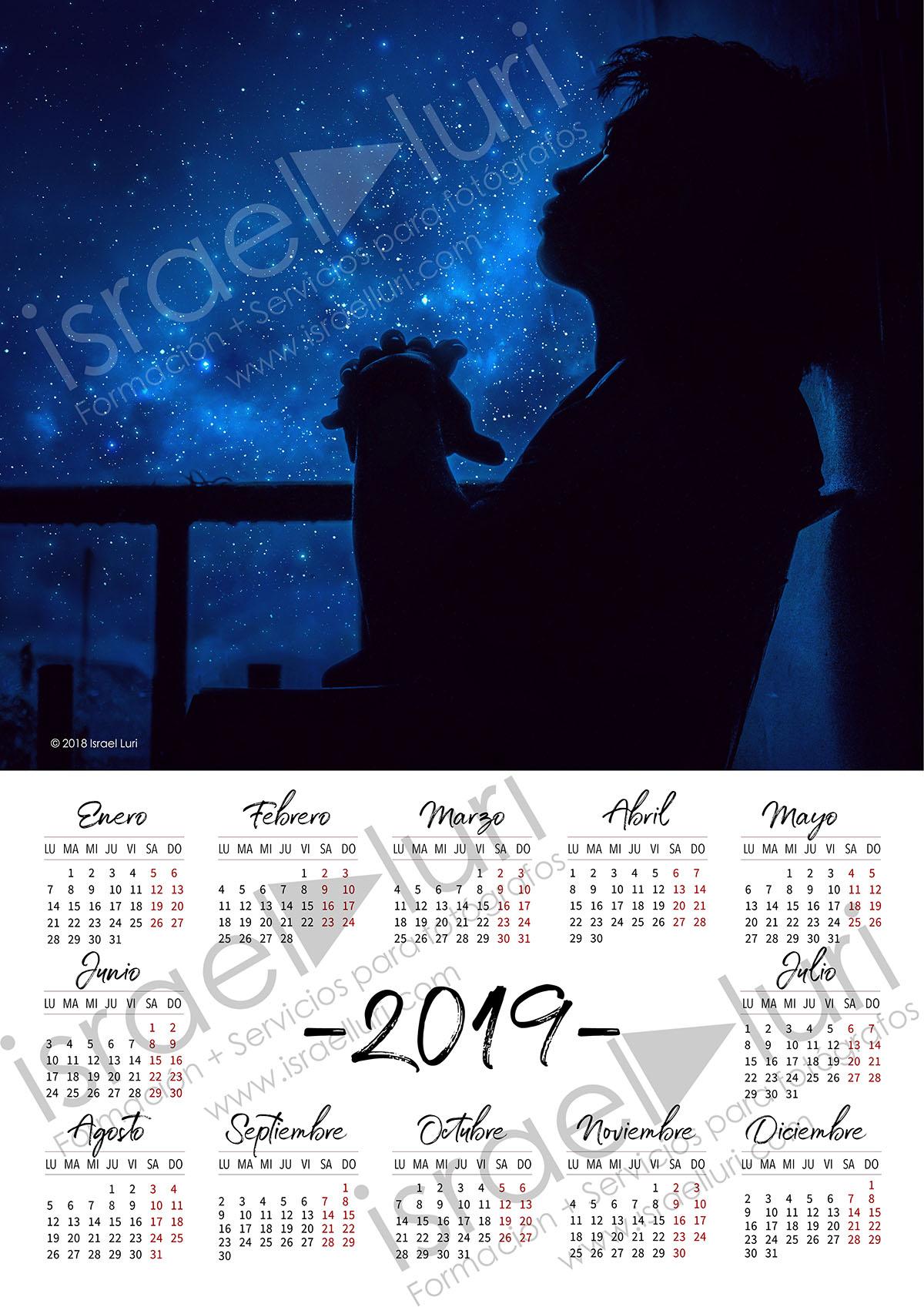 Calendario 2019 A3 Lunes primero