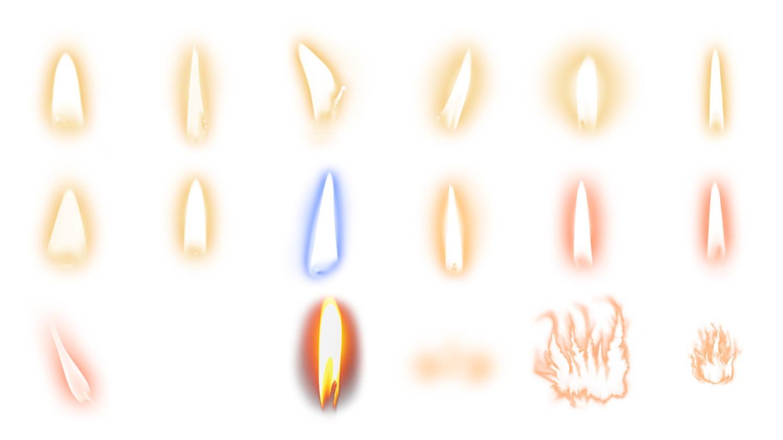 Superposiciones de llamas para velas