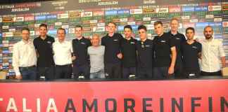Israel Cycling Academy at press conference before Giro d'Italia in Jerusalem