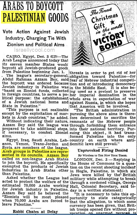 NY Times archives Arab boycott 1945